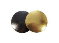 Подложка для тортов круглая d180 мм h3 мм золото-черная