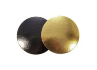 Подложка для тортов круглая d200 мм h3 мм золото-черная