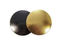 Подложка для тортов круглая d220 мм h3 мм золото-черная
