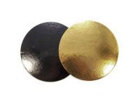 Подложка для тортов круглая d240 мм h3 мм золото-черная