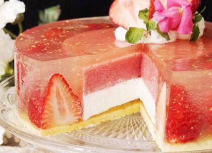 Agar-agar_Желейный торт с клубникой